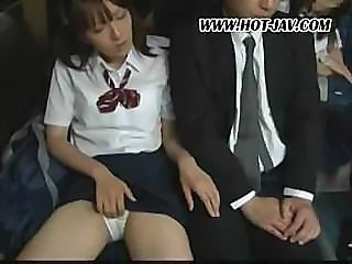 Cute Asian schoolgirl gets off being fucked on the subway
