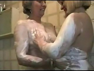 Two grannies play in lingerie and stockings  free