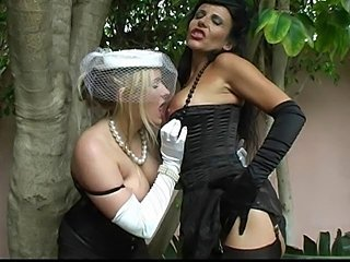 Big Tits Lesbian Lingerie  Outdoor Stockings