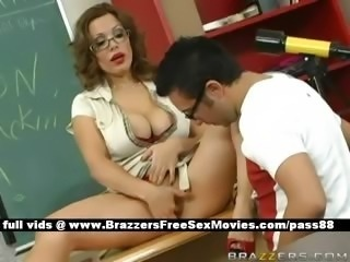 Amazing Big Tits Glasses Masturbating  School Teacher