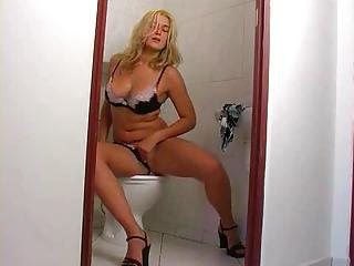 Amazing Blonde Lingerie Masturbating Solo Teen Toilet