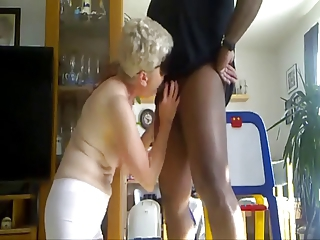 amat granny gets two cocks