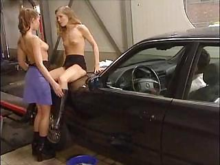Lesbian Babes Are At The Carwash And Giving This Guy A Taste