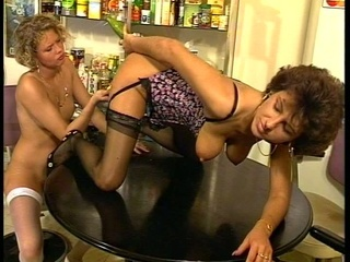 Mature Lesbians Get Wet And Dirty In The Kitchen!