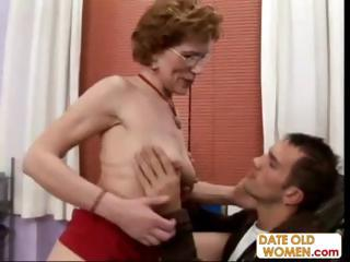 Venerable Brunette Granny Talks Her Way Into His Office With regard to Fuck Him