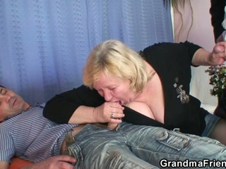Fat Blonde Granny Takes Two Cocks At Once