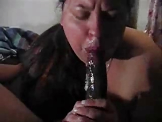 White Wife Giving a Sloppy Blowjob
