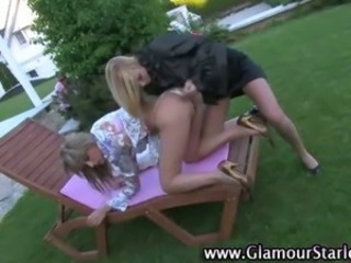 European bitches get nasty on pussy in the sunny outdoors