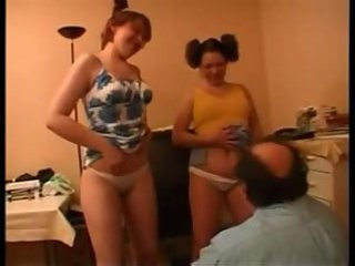 Italian daughters threesome family taboo with old dad