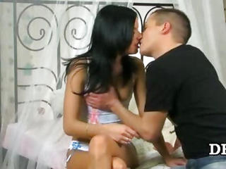 Brunette First Time Kissing Teen Virgin