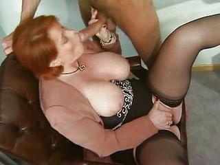 Big Tits Blowjob European German Mature Natural Office Redhead Stockings