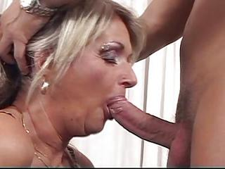 Blonde Grandma Whore Loves Young Cock Action