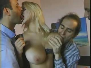 Big Tits Blond Thing embrace With Three Men