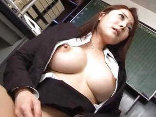Amazing Asian Big Tits Japanese MILF Nipples Teacher
