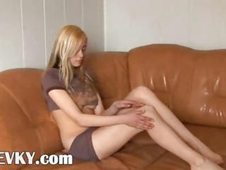 Czech Teenager Stripping On The Sofa