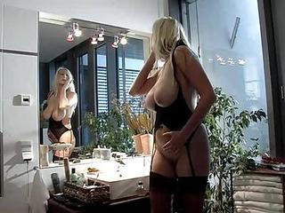Amazing Big Tits Blonde European German  Stockings