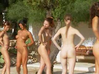 Six naked girls by the pool from france stripping and excercising bodies