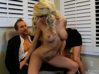 Blonde babe Brandy Blair strips and jumps on cock getting a good hard fucking