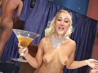 Brazilian blondie gets an unforgettable messy bukkake treatment