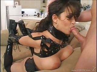Horny sex slave Mason Storm gets her mouth busy sucking a hard man lollipop