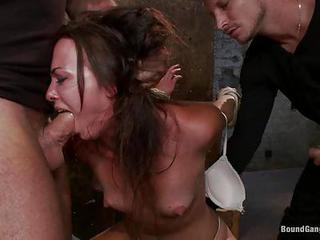 Bound Brunette Chokes On A Hard...