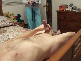 Two cameras film the guy masturbating