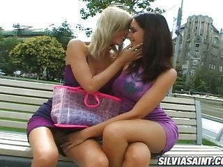 Lovely dark haired Sandra Shine getting horny with her girlfriend in public