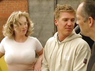Big Tits Blonde European German  Outdoor Threesome
