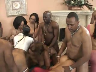 Ebony fucked hard in a massive orgy of men with huge cocks !