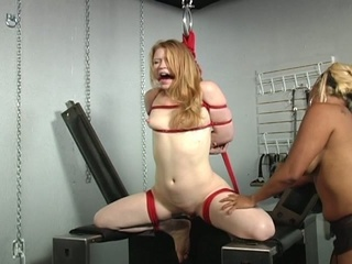 Helpless blonde abused by horny mistress