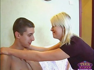 Teen blowing boy she invited