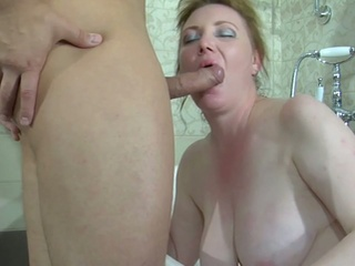 Chubby brunette milf caught in the tube gets banged