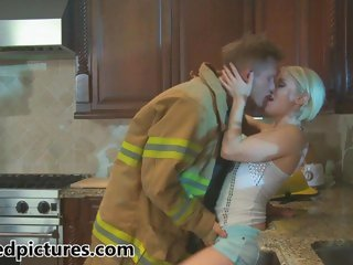 Ash Hollywood lives her fantasy with a firefighter