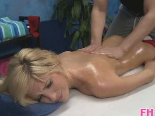 Blonde Cute Massage Oiled Teen