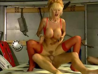 Amazing Big Tits Blonde  Pornstar Riding Stockings Vintage