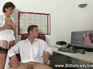 Younger sponger gets handjob coupled with blowjob hard by british mature lady ending with cumshot on will not hear of tits