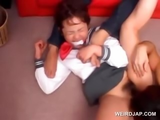 Hardcore 3some with asian schoolgirl vibed upskirt
