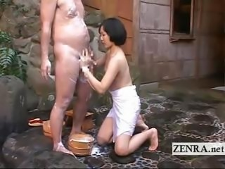Japanese CFNM mixed bathing handjob leads anent cumshot