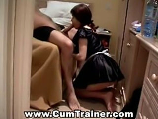 French maid takes a break to suck cock