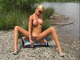 Babe Big Tits Blonde Legs Masturbating Outdoor Skinny Solo Toy