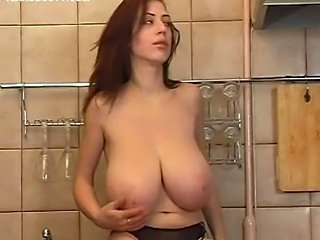 Babe Big Tits Cute Kitchen Natural Solo