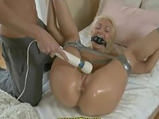 Slim blonde getting tied and squirting