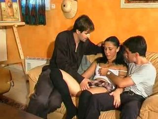 Brunette European French Pigtail Teen Threesome