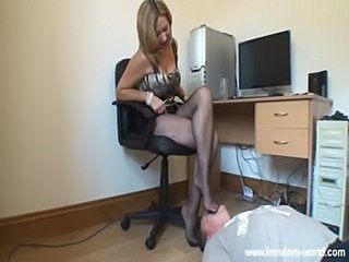 Office mistress and her footslave  free