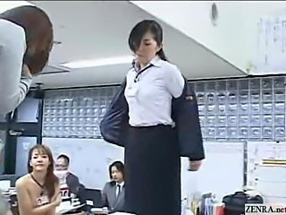New Japanese female employees play rock paper scissors strip