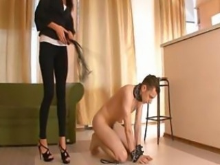 Russian Mistress With Beautiful Feet Mia Trains Her Dog