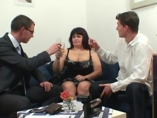 Chubby Drunk Mature Old and Young Threesome