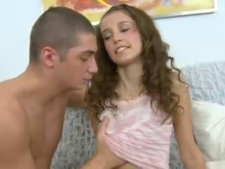 Skinny little teen gets a nice  hard cock in the ass