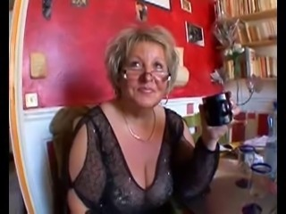Hot shaved chubby granny in stockings fucking with two guys