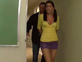 Cute schoolgirl Gracie Glam gets it on a desk